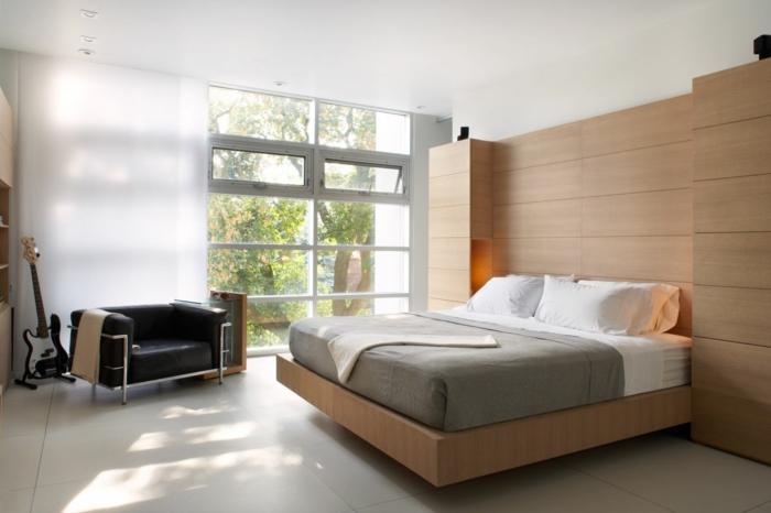 kleine zimmer einrichten gemütliches schlafzimmer deckenbeleuchtung panoramafenster