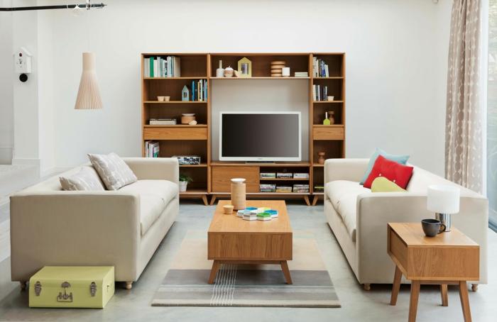 Kleine Zimmer Einrichten Helle Sofas Wohnwand Beistelltisch