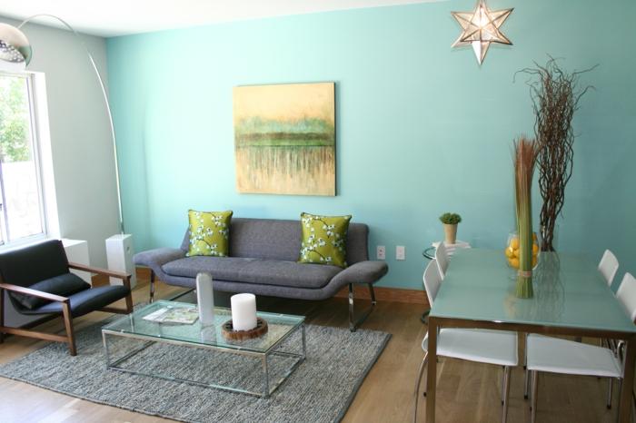 kleines zimmer einrichten wohnzimmer retro möbel grüne wand