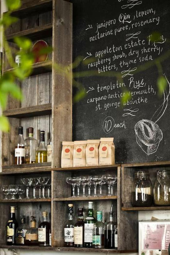 kreative wandgestaltung küche offene regale küchengestaltung