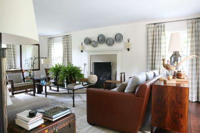 landhausstil design ledersofa wohnzimmer pflanzen
