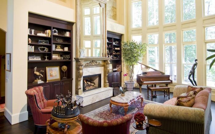 Ansprechendes Innendesign Schaffen. Landhausstil Wohnzimmer Einrichtung  Offene Regale Klavier