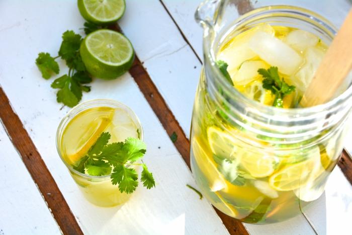 limonade selber machen eiswürfel limette koriander