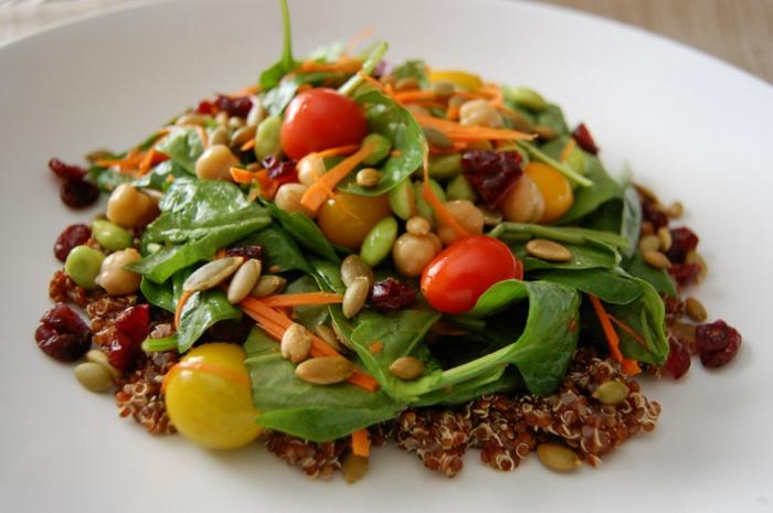 low carb rezepte gesunder salat spinat chia samen cherry tomat4en