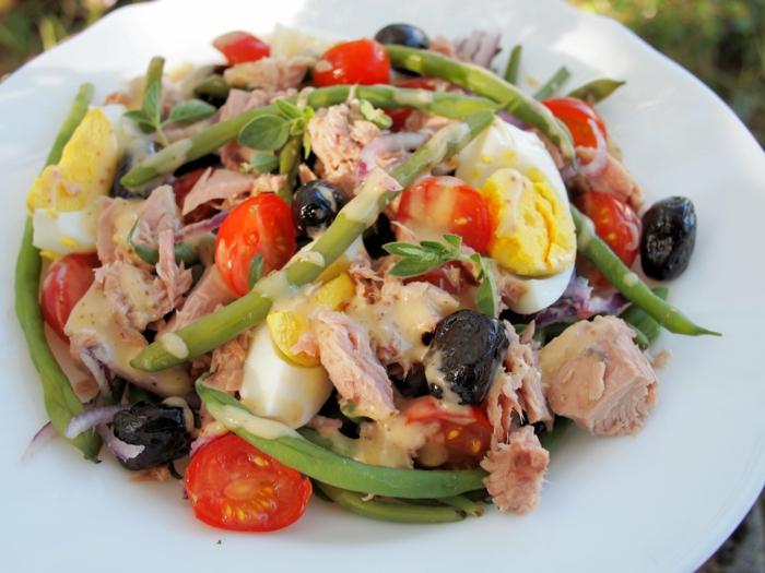 low carb rezepte salat grüne bohnen tomaten eier fisch
