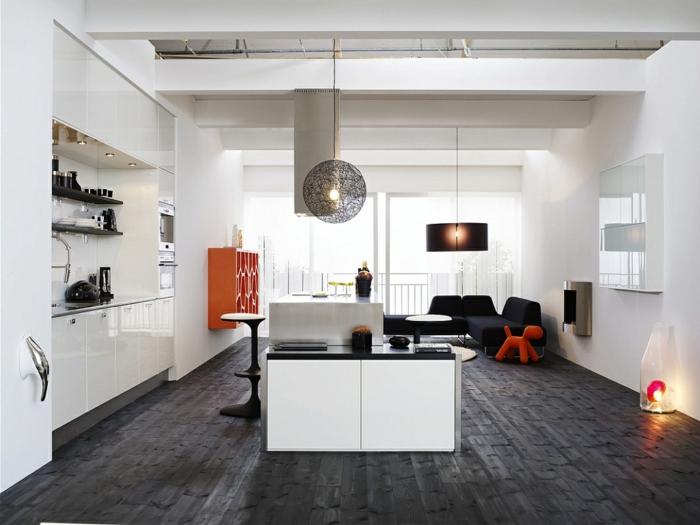 möbel trends skandinavisch einrichten offener wohnplan weiße wandfarbe dunkler boden