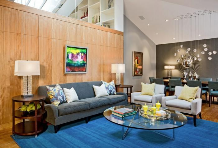 wohnzimmermöbel vintage:möbel trends wohnzimmermöbel retro stil blauer teppich gläserner