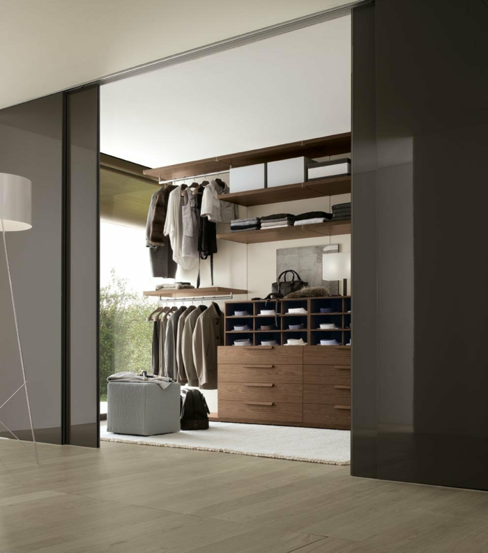 Moderne Kleiderschränke Ankleidezimmer Männer Weißer Teppich Schiebetüren