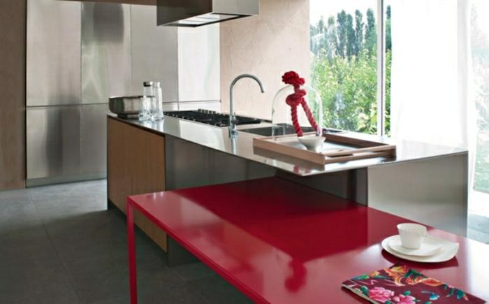 modulküchen küchen design roter tisch einbauspüle