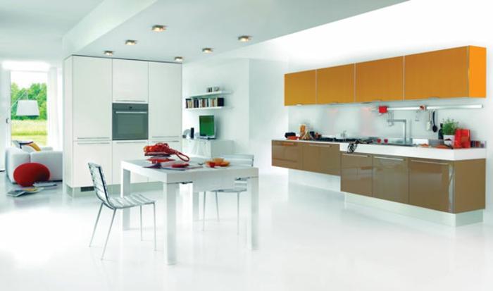 modulküchen singleküchen glänzende oberflächen wohntrends