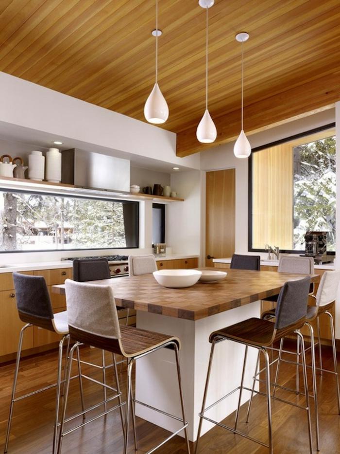 pendelleuchten küche küchentisch barhocker
