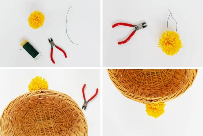 pompons basteln diy projekte kreative ideen materialien zange