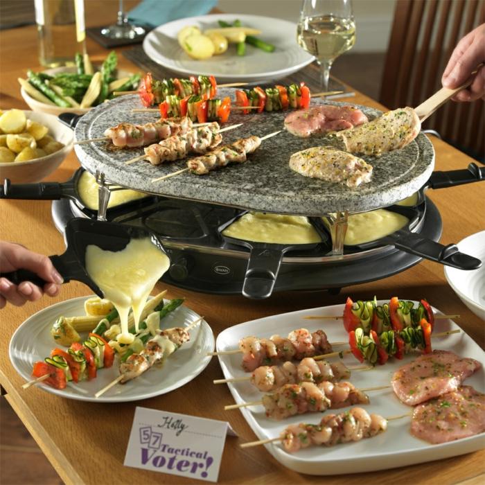 raclette rezepte beilagen grill geschmolzener käse