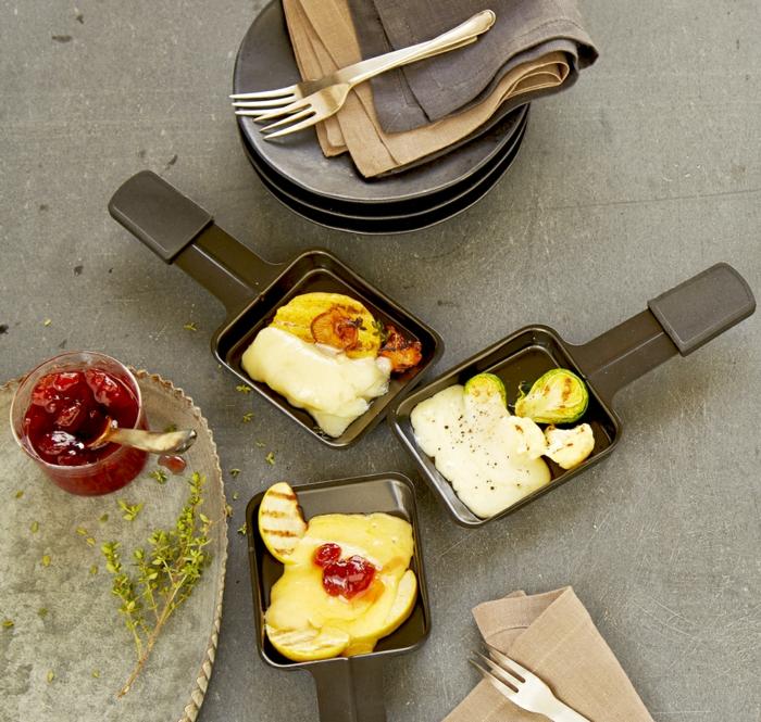 raclette rezepte set pfännchen teller