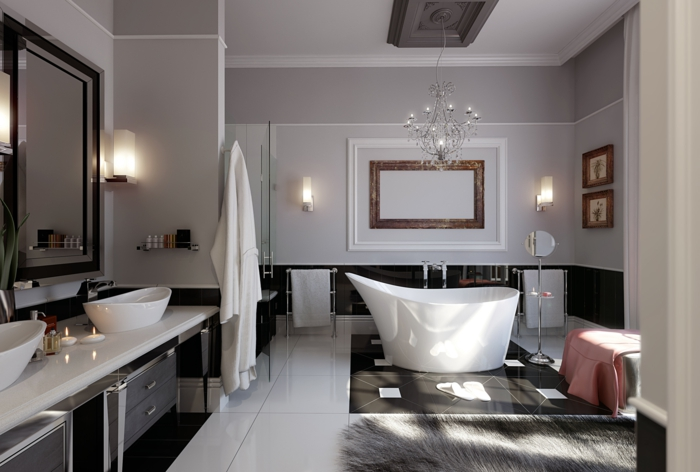 raumgestaltung bad ideen luxuriös badewanne badleuchten