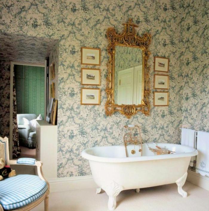 raumgestaltung bad ideen märchenhaftes badezimmer wandtapete