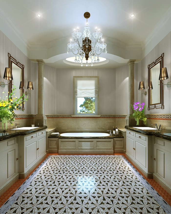 raumgestaltung märchewnhaftes badezimmer schöne wandleuchten badewanne