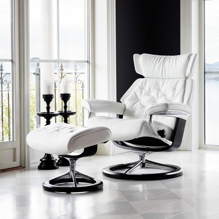 relaxsessel hocker weiß stilvoll einrichtungsideen