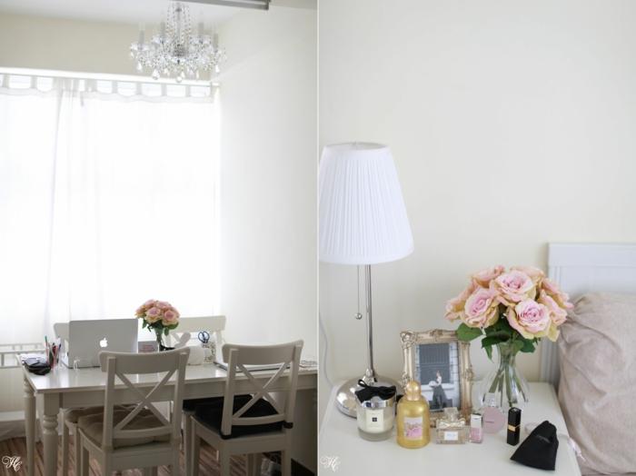 rosen deko tischdeko nachttisch zarte blüten glasvase