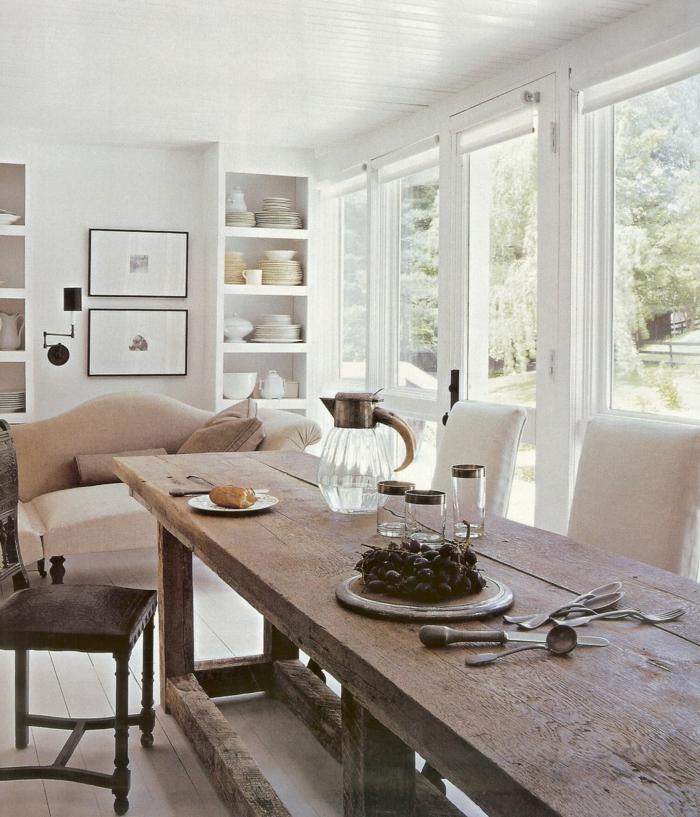 rustikale möbel esszimmer esstisch offener wohnplan wohnzimmersofa
