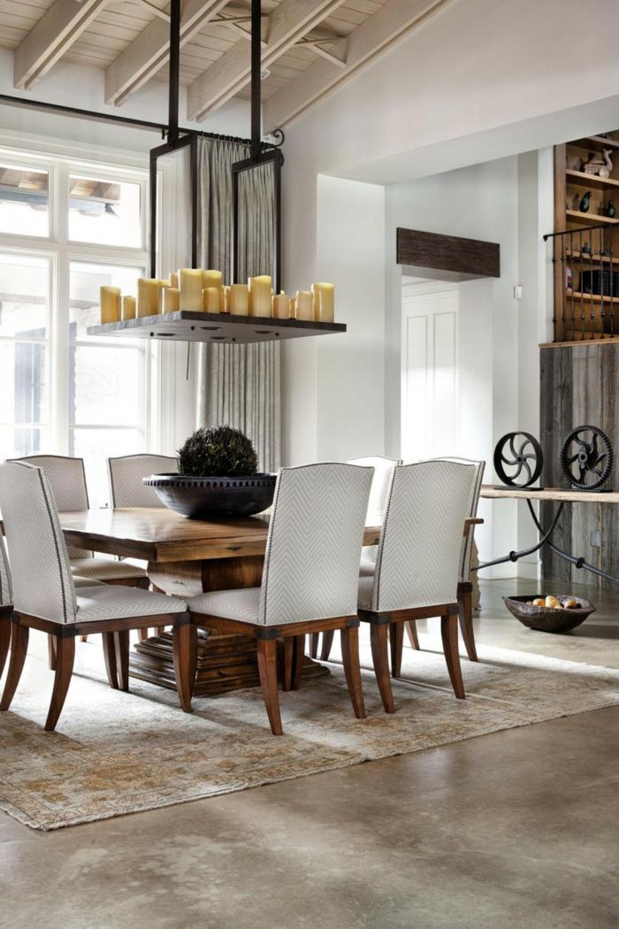 rustikale möbel esstisch essbereich eleganter teppich tischdeko