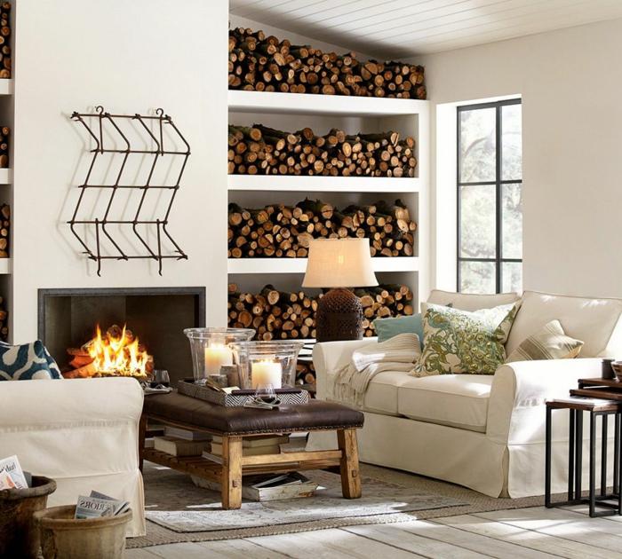 rustikale möbel gemütliches wohnzimmer kamin couchtisch