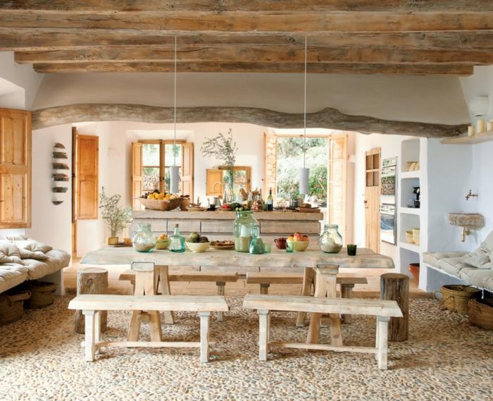 rustikale möbel küche wohnzimmer offener wohnplan esstisch