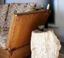 Rustikale Tische sind eine originelle Lösung für das moderne Innendesign