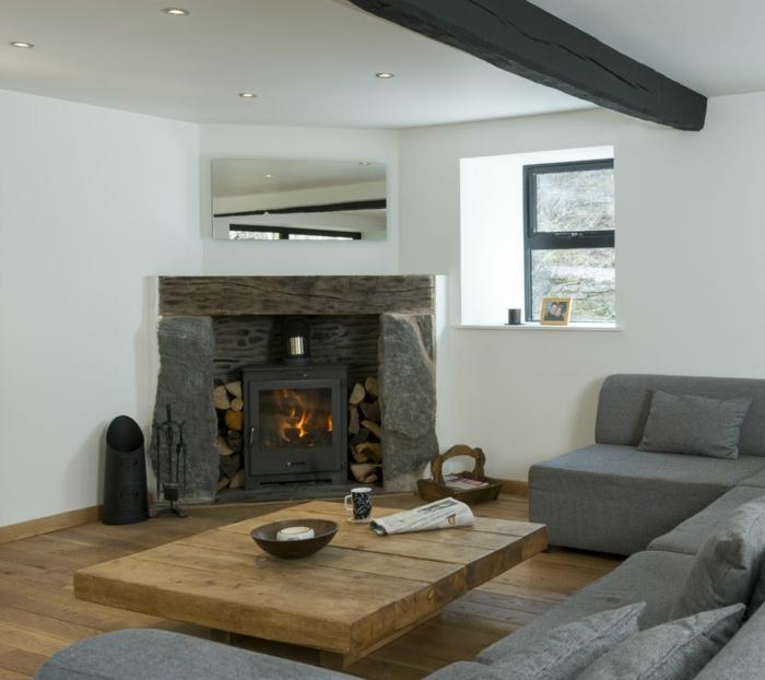 Lieblich Rustikale Tische Couchtisch Kamin Wohnzimmer Ideen