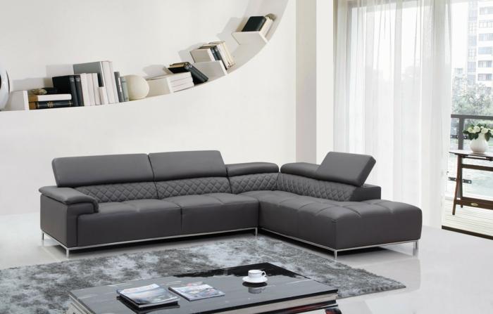 schöne sofas graues ecksofa wohnzimmerteppich ausgefallenes wandregal