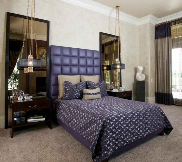 schlafzimmer einrichten beiger teppichboden und lila bettwäsche