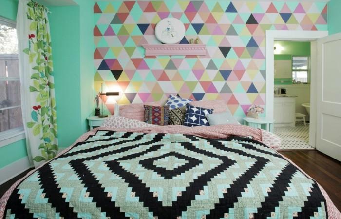 schlafzimmer einrichten bunte muster kombinieren
