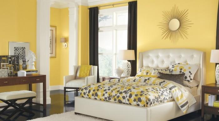 schlafzimmer einrichten gelb durch weiß und schwarz mildern