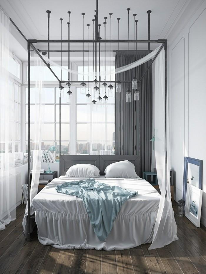 wohnideen schlafzimmer in industriellem stil mit pendelleuchten