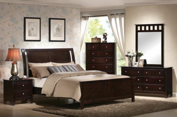 schlafzimmer einrichten ideen braune möbel wandtapete