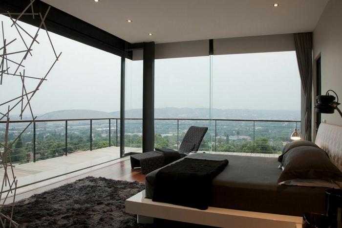 schlafzimmer einrichten ideen panoramafenster teppich