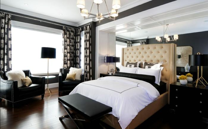 schlafzimmer einrichten ideen schickes bettkopfteil schlafzimmerbank