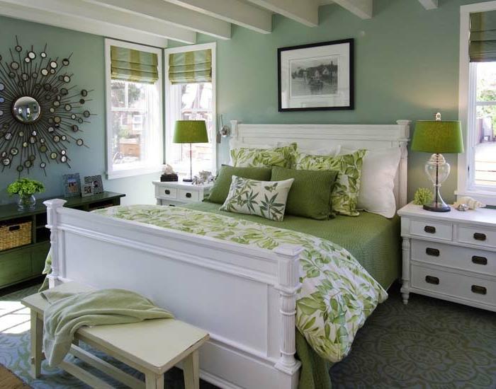 schlafzimmer einrichten ideen gästeschlafzimmer grüne bettwäsche wanddeko
