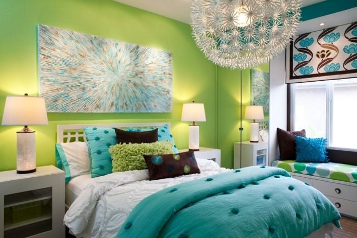 schlafzimmer einrichten in grünnuancen