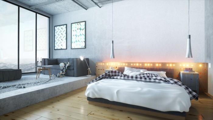 schlafzimmer einrichten in industriellen stil offener wohnplan