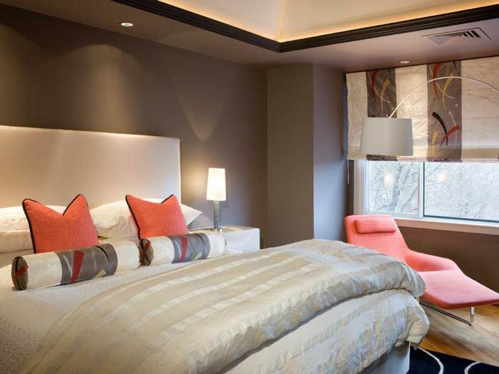 schlafzimmer einrichten in neutralen farben und mit orange aufpeppen