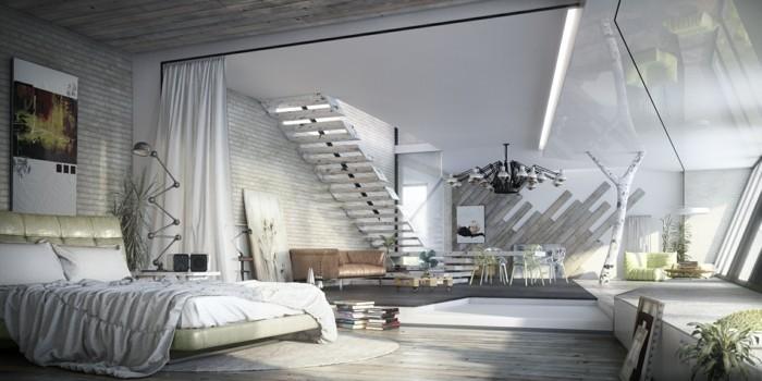 schlafzimmer einrichten industrieller schlafbereich in hellen farben