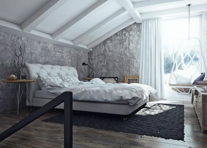 schlafzimmer einrichten inustrielles schlafzimmer mit wunderschöner wandgestaltung