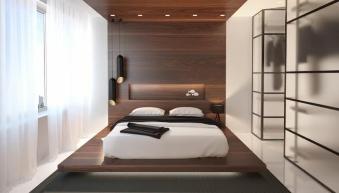 schlafzimmer einrichten pendellampen und schwebendes bett