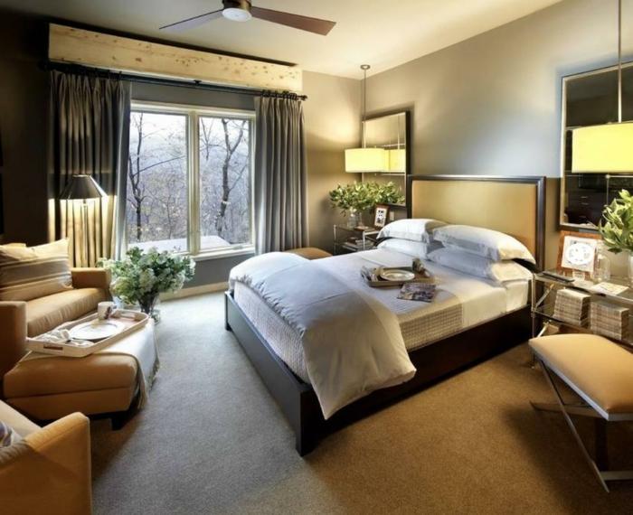 schlafzimmer einrichtungsideen möbel komfort pflanzen