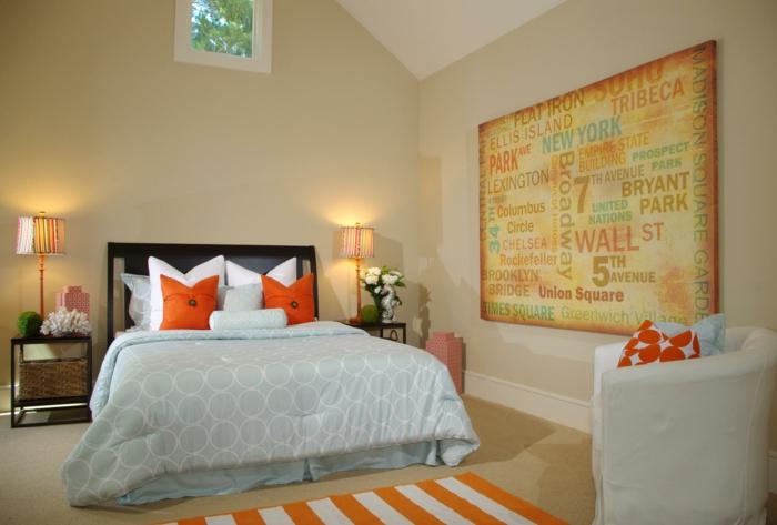schlafzimmer einrichtungsideen teppichläufer streifenmuster wanddeko