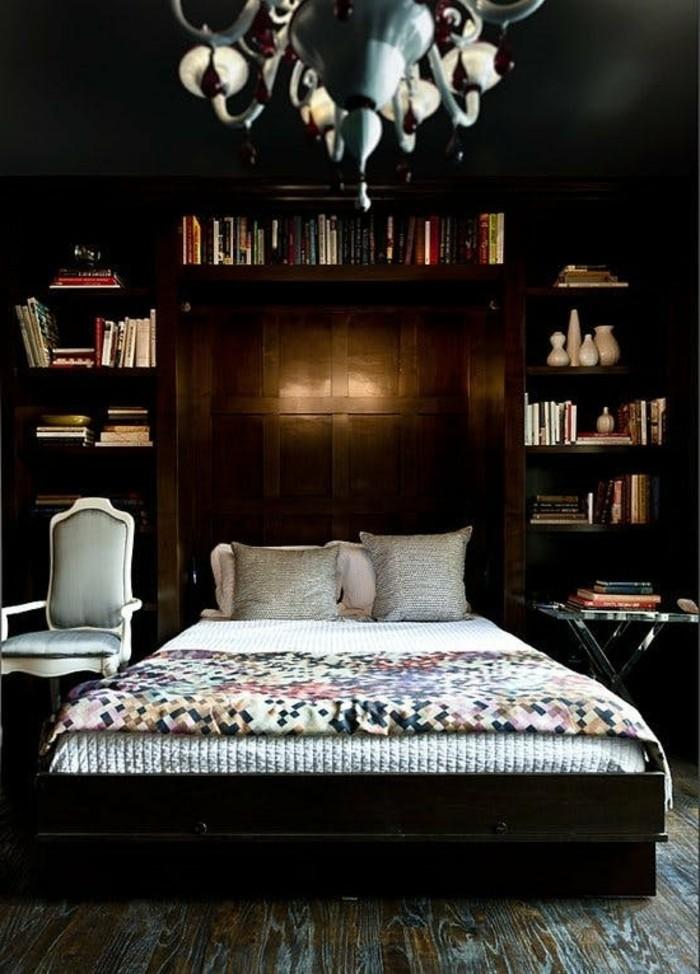 schlafzimmer ideen dunkles interieur geometrische bettwäsche und schöner bodenbelag