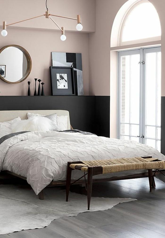 schlafzimmer ideen fellteppich und farbkontraste