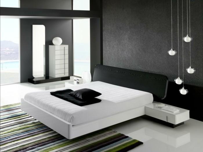 schlafzimmer ideen schwarz weißes schlafzimmer pendelleuchten und streifenteppich