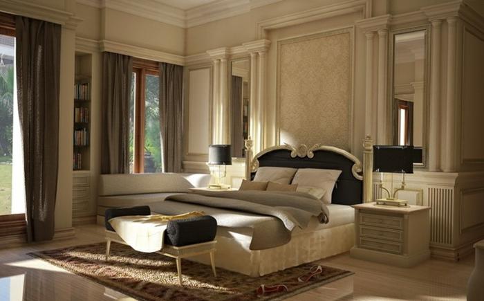 schlafzimmereinrichtung sitzbank teppich lange gardinen